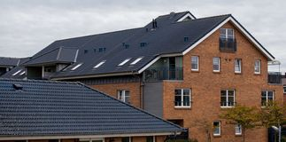The roof of the house with nice window.  royalty free stock photography