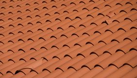 Roof of a house in red tile Stock Photo