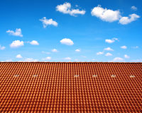 Roof house with red tiles Royalty Free Stock Image