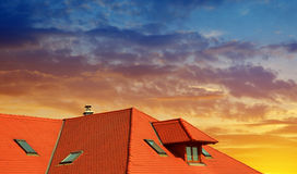 Roof house with red tiles Royalty Free Stock Photos