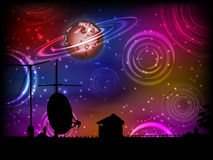 The roof of the house is silhouetted with an antenna. And a plate and the sky with planets. Illustration for your design Stock Images