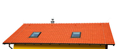 Roof house with tiled roof Stock Photos