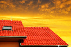Roof house with tiled roof Stock Image