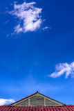Roof of house under the blue sky. Royalty Free Stock Photo