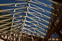 The roof of a house under construction. Roof Truss system for a house under construction Royalty Free Stock Image