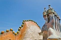 Roof, housetop Gaudi`s creation-house Casa Batlo. stock photography