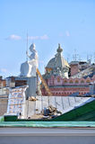 The roof of the housing of Rossi in National library of Russia and sculpture of Minerva - the goddess of wisdom Royalty Free Stock Photo