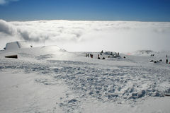 Roof hut - Etna covered by snow Stock Photography