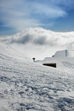 Roof hut - Etna covered by snow Royalty Free Stock Image