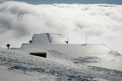 Roof hut - Etna covered by snow Stock Photos
