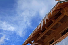 Roof with icicles Royalty Free Stock Photos