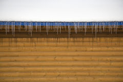 Roof Icicles. Icicles hanging from the sides of a roof Stock Photos