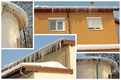 Roof icicles collage Royalty Free Stock Photos