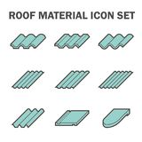 Roof icon. Roof material icon set, blue color Royalty Free Stock Image