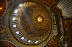 Roof inside of St Peters Church in Rome. Royalty Free Stock Images