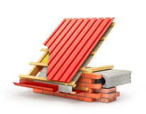 Roof installation. Metal tile coating on the roof with technical Stock Images