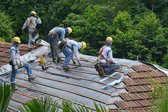 Roof Installation Works Royalty Free Stock Images