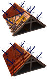 Roof insulation. 3D image of roof structure with blue arrows showing how the cold air repels from the roof. images are isolated on white Stock Photo