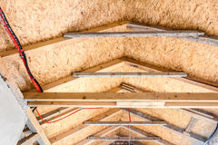 Roof insulation. The roof of new house is being installed with environmentally friendly and energy efficient thermal insulation stock photo