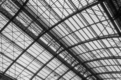 Roof Iron Structure. Of Antwerp Central station (Black and White Stock Photos