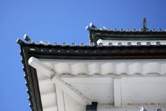 Roof of a japanese castle from below. The white roof of a japanese castle in Tokyo from below Royalty Free Stock Image