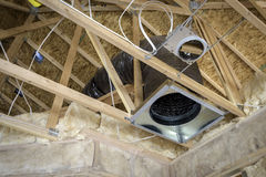 Roof joists and heating ducts Stock Images