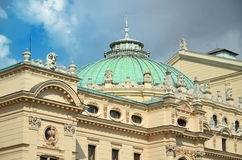 Roof of the Juliusza Slowacki Theater in the Old Town district of Krakow in Poland. Stock Images