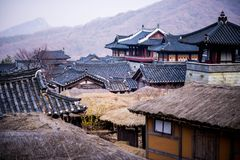 Roof of korean style castle. A roof of korean style castle Royalty Free Stock Image