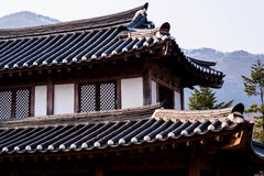 Roof of korean style castle. A roof of korean style castle Stock Images
