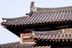 Roof of korean style castle. A roof of korean style castle Royalty Free Stock Images