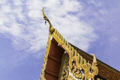 Roof laythai temple with sky Royalty Free Stock Photo