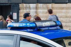 Roof light on the Spain police car. Blue emergency vehicle lighting. Barcelona, Spain - June 7, 2018: Roof light on the Spain police car. Blue emergency vehicle royalty free stock image