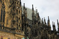 Roof line with buttresses on the gothic St Vitus Cathedral in the Prague Castle Complex.  Stock Images