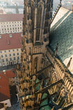 Roof line of the gothic St Vitus Cathedral in the Prague Castle Complex stock images