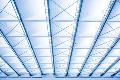 The roof is made of light material inside the modern building royalty free stock image