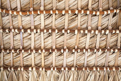Roof made of palm leaves, back side background texture Royalty Free Stock Photo