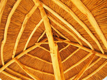 The roof is made of straw. The roof is made of yellow cane - bottom view stock photo