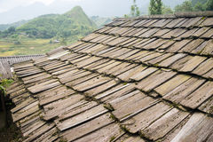 Roof made of wood pieces Stock Image