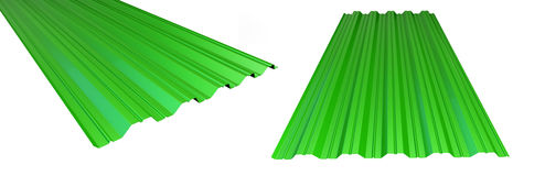 Roof metal sheet green on white background. 3d Stock Photo