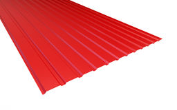 Roof metal sheet red on white background. Royalty Free Stock Photos