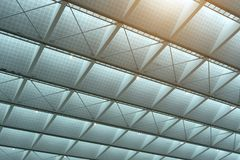 Roof of Modern business office buildings low angle view for fina. Solar cell Roof of Modern business office buildings low angle view for financial or economics Stock Photography