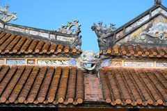 Roof fragment with dragon, Imperial City Hue, Vietnam, in the Forbidden City of Hue. stock image