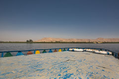 From the roof of the motorboat. Roof of Modern traditional river Nile motorboat, Luxor, Egypt stock photos