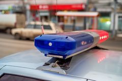 The roof-mounted lightbar of police car Royalty Free Stock Photo