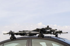 Roof mounted bike carrier Royalty Free Stock Image