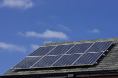 Roof Mounted Solar Panels in Manchester England Stock Photos