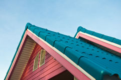 Roof of a new wooden house stock photography