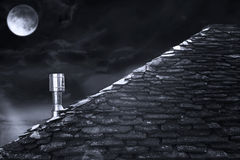 Roof at night in black and white Stock Photos