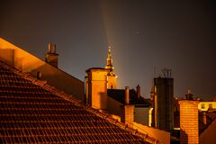 Free Roof Of Houses With Chimneys And A Church Tower In Night, Uherske Hradiste Stock Photography - 200974502
