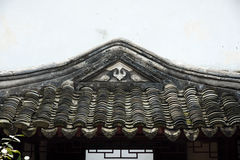 Roof of old Chinese building. Architectural details of tiled roof of historical Chinese building Royalty Free Stock Photography